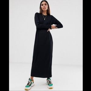splendid long sleeve maxi shirt dress black